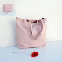 PEACH bag + clutch, leather summer bag, leather tote, casual bag, everyday bag, pink powder handbag, large pink bag, evening bag and purse