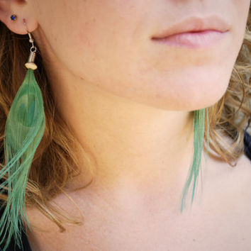 Mermaid Green Peacock Feather Earrings