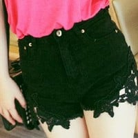 lace hem with grunge style raw edges  denim shorts from mancphoebe