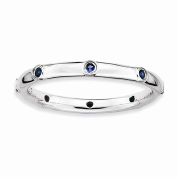 Sterling Silver Stackable Expressions Simulated Sapphire Ring
