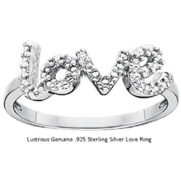 Adorable 'LOVE' Signature Ring 18kt White Gold over Sterling silver