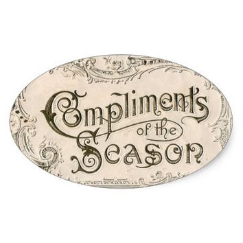 Vintage Compliments of Season Christmas Sticker