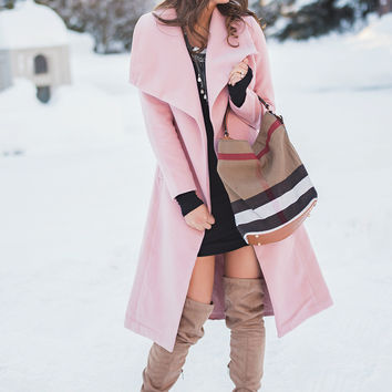 Oh Jackie Tie Up Duster Coat (Dusty Pink)