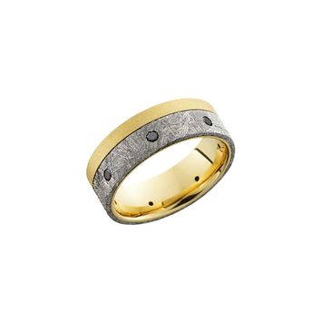 18k Gold and Meteorite Band Ring with Black Diamonds