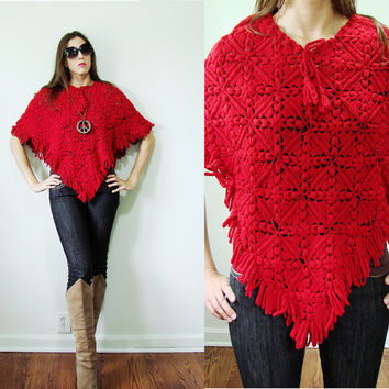 Vintage Red Riding Hood Granny Fringe Poncho Crochet Festival Beach WOW