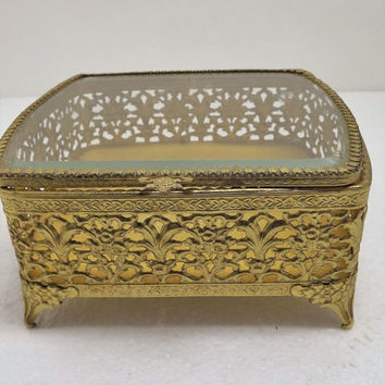 Ormolu Brass Jewelry Casket - Beveled Glass Lid - Filigree - Large Jewelry Case - Vintage Jewelry Box - Vintage Trinket Box - Gold Box