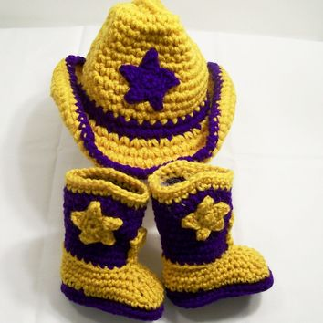 Baby Boy Cowboy Gift Set-Purple and Gold LSU Colors--Baby Shower Gift- PLEASE CHOOSE YOUR SIZE