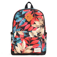 Women Korean Style Canvas Leaves Printing Backpack
