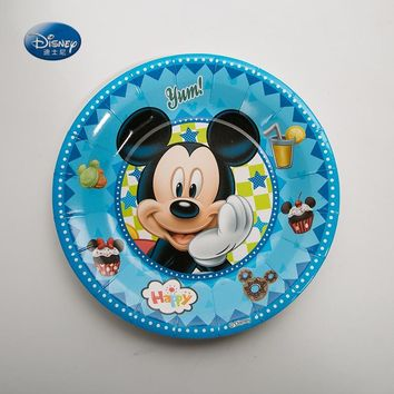 Disney Cartoon Party Supplies 7inch Mickey Mouse Party Disposable Tableware Paper Plate Dishes White cardboard with Food Film