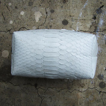 MAKE UP CASE - White Python Snakeskin Leather Make Up Pouch