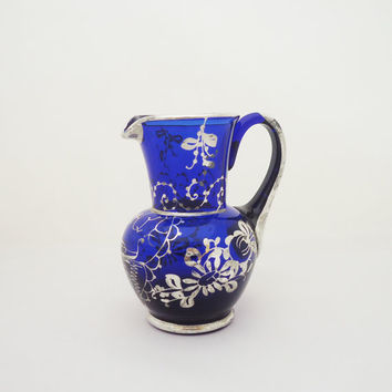 Vintage Silver Overlay Cobalt Blue Venetian  Glass Pitcher, Venetian Glass Jug, Cobalt Blue Glass Vase