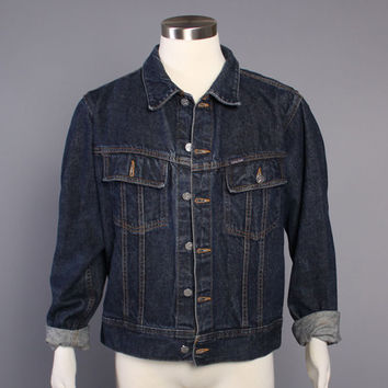90s Calvin Klein JEAN JACKET / Dark Indigo Denim Trucker Jacket, L
