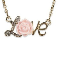 short love necklace with flower - debshops.com