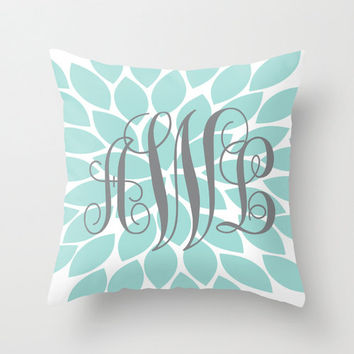 Monogram PILLOW Aqua Gray Flower Burst Custom THROW Pillow with Insert or Pillow SHAM Pillow Case Choose Colors & Size Decor Nursery Bed