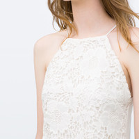 Strappy guipure lace top