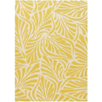 Frond Yellow Indoor Outdoor Rug
