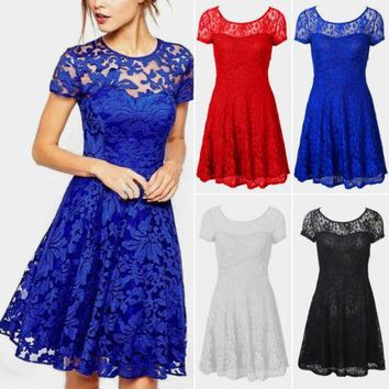 Women Lace Floral Prom Evening Party Bridesmaid Wedding Mini Dress