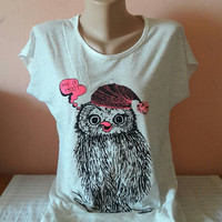 Hipster Owl T-Shirt Graphic Tee Women Clothing Fashion Streetwear Yoga Top Fitness Clothes Streetwear  Gift Ideas