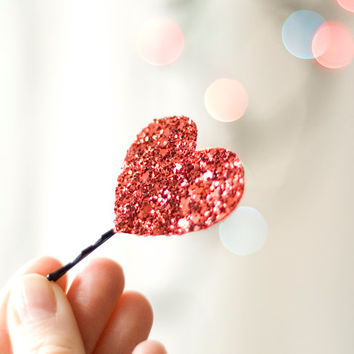 Red Glitter Heart - Bobby Pin - Headpiece Clip - Love - For Her - Shimmering Other Colours Available Handmade Cute Kawaii