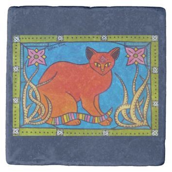 Indian Cat With Lilies Colorful Cat Design Stone Coaster