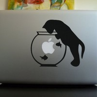 Apple Macbook Vinyl Decal Sticker - Kitty and Fish