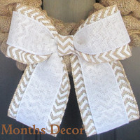 White over White/Natural Chevron Burlap Bow, Wedding, Pew Chair Bows, Spring, Easter, Fall Winter, Floral Bow, Chevron Bow