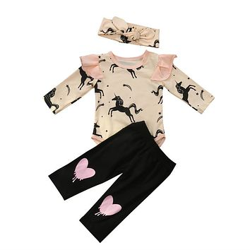 Casual Winter Baby Girl Clothes Newborn Infant Baby Girl Clothes Printed Bodysuit Pants Headband 3PCS Girls Clothes Set 0-24M