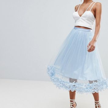 PrettyLittleThing 3D Floral Tulle Skirt at asos.com