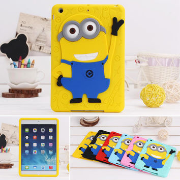 For iPad Mini Case Silicone 3D Despicable Me Minion Soft Rubber Case Cover For iPad Mini 2 Case & For iPad Mini 3 Tablet Case