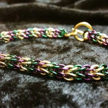Mardi Gras Pruple Green and Gold NOLA Chainmail New Orleans Bracelet Everyday New Orleans Mardi Gras Chainmaille Bracelet Handmade