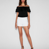 Mid Rise Cotton-blend Shorts