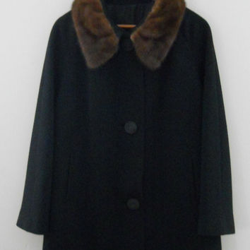 Jackie O Coat / Jackie Kennedy / 60s Coat / Swing Coat / Mink Collar / Mink Coat / 50s Black Coat / Women Winter Coats / Fur Coat / Mad Men