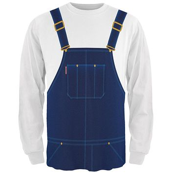 Halloween Overalls White Costume All Over Mens Long Sleeve T Shirt