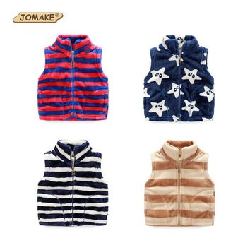 Fleece Baby Vest Autumn Striped Fashion Kids Waistcoat For Toddler Girl Boy Children Zipper Vests Casual Boys Outerwear & Coats
