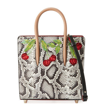 Christian Louboutin Paloma Small Watersnake Cherry Tote Bag, Black/Multi