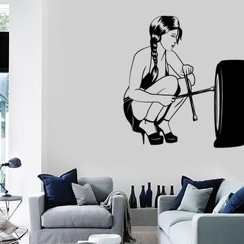 Wall Stickers Vinyl Decal Sexy Girl Teen Mechanic Car Driver Decor  Unique Gift (z2234)
