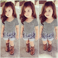 Girls Two Piece Spring/Summer Striped Top with Denim Shorts