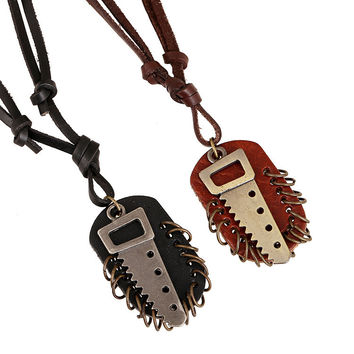 Stylish Jewelry Shiny Gift New Arrival Fashion Accessory Punk Vintage Men Leather Alloy Necklace [6526580995]