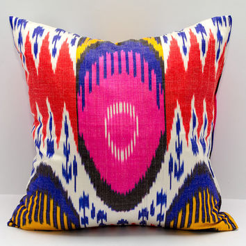 15x15 ikat pillow cover, cushion, pillow case, cushion cover pillowcase, pink, red, cream, blue, yellow, sofa pillow, decorative pillow,