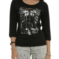 Doctor Who TARDIS Silver Foil Girls Pullover Top
