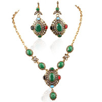 Turkish jewelry Tibetan Silver Alloy Gold Plated Restoring Ancient  Ways Green And Black Necklace Earring Sets Free Shipping