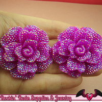 2 pcs Faux RHINESTONE AB Plum Purple 45mm Decoden Flatback Resin Flower Cabochons
