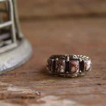 Wild Horse Ring - Magnesite Ring - Native American Jewelry - Navajo - Rectangle Brown Stone Rings - Multi stone native ring - Stamped silver