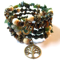 Earthy, Natural Grounding Genuine Gemstone Memory Wire Bracelet, Moss Agate, Tiger Eye, and natural wood beads, Om and Tree of Life Charms
