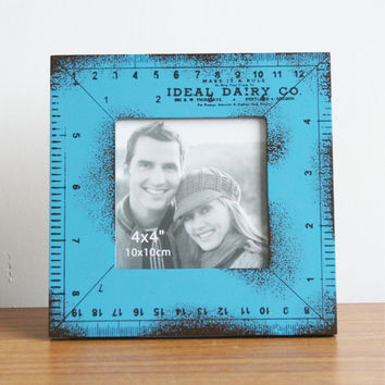 Retro Style Blue Wood Ruler Photo Frame Picture Frame Home Decor Table 4''