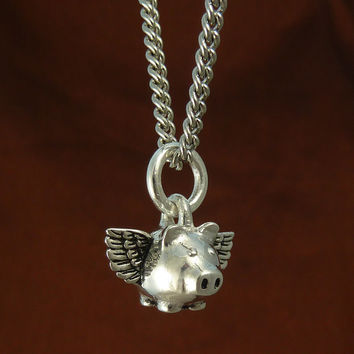 "Flying Pig Necklace Small Antique Silver Pig Pendant on 18"" Antique Silver Chain"