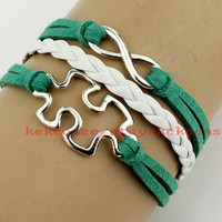 Puzzle Piece and Autism Awareness charm bracelet,Infinity wish bracelet,Green wax cord adjustable weave bangle,Friendship gift.-T098