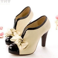 high heel shoes new sexy lady H023 beige bow pump platform women (US Size) [7940944199]