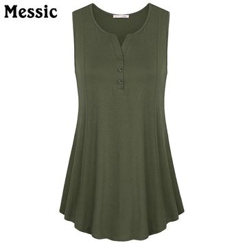 Tunic Tops O-Neck Sleeveless Chiffon Blouse Front Buttons Loose Pleased Hem Swing Casual Tank Tops Ladies Tops Summer