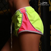 Mermaid Curve Women Shorts Fluorescent Green Breathable Inside briefs Womens Running Shorts sports Fitness Female Shorts